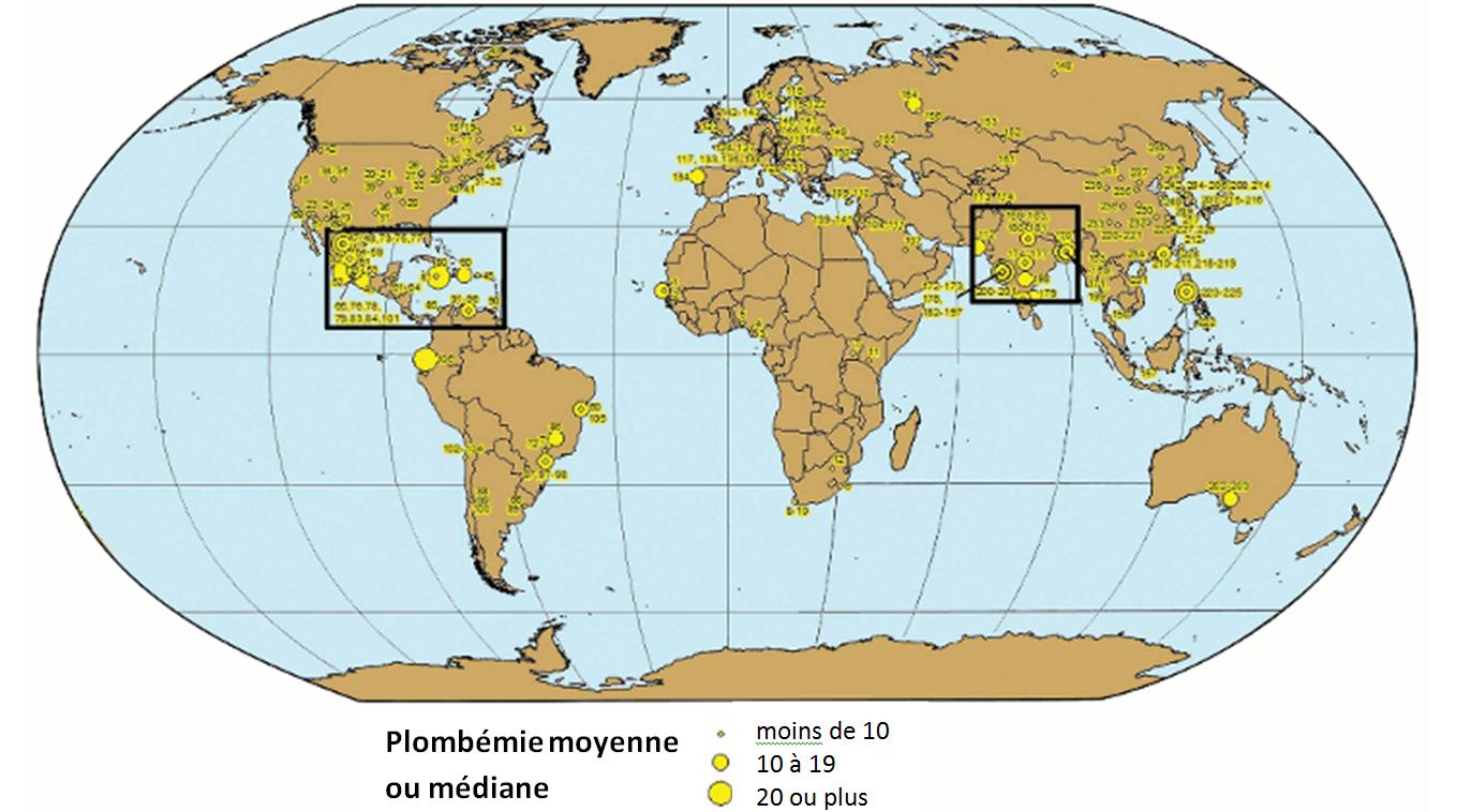 Figure 1 : Mappemonde de la plombémie moyenne chez les enfants, évaluée dans des études publiées de 2000 à 2010